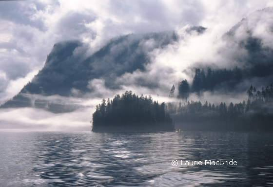 Fog over Okisollo Channel with Quadra Island in background