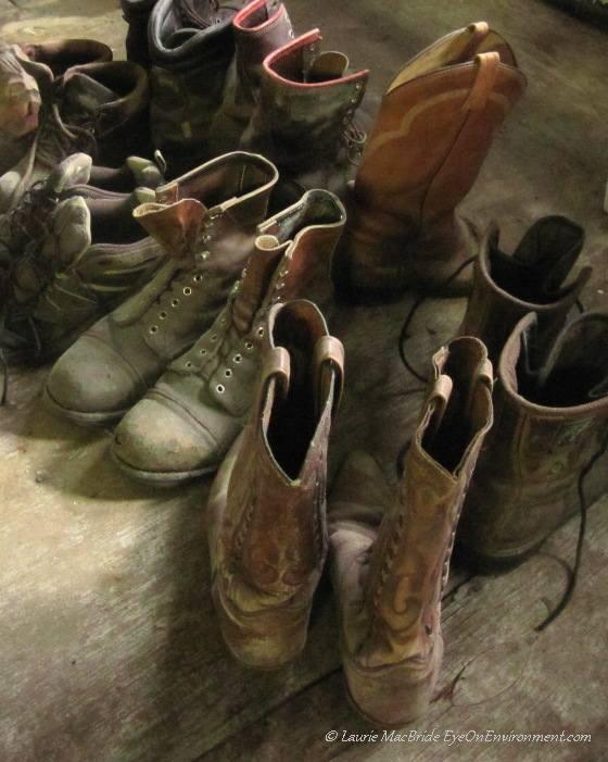 Old boots in Ocean Falls museum
