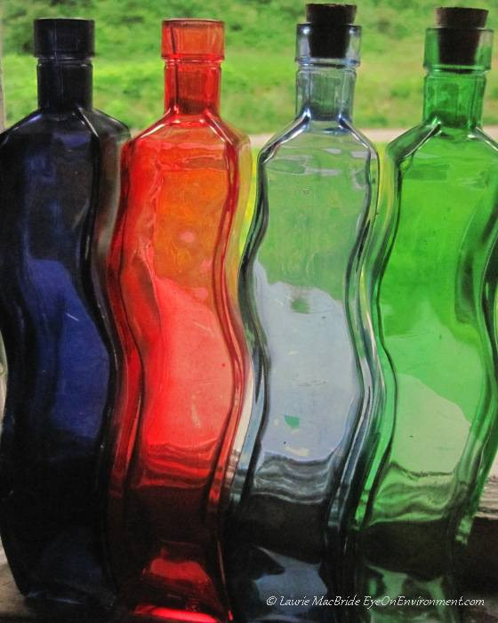 Curved and colorful glass bottles