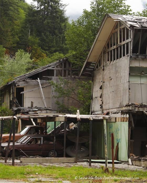 Ruined houses at Ocean Falls