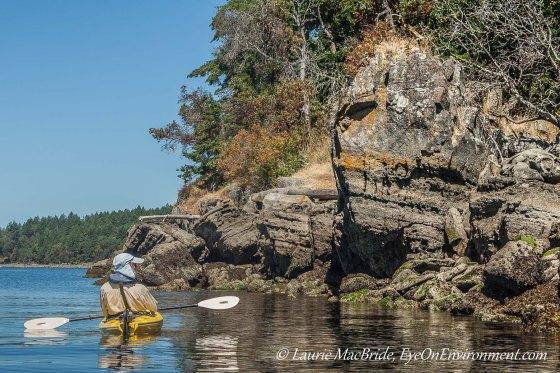 Kayaker looking at rocky island shore