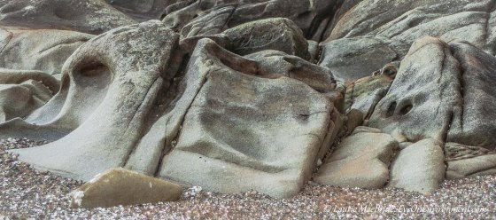 Eroded sandstone shapes on a beach