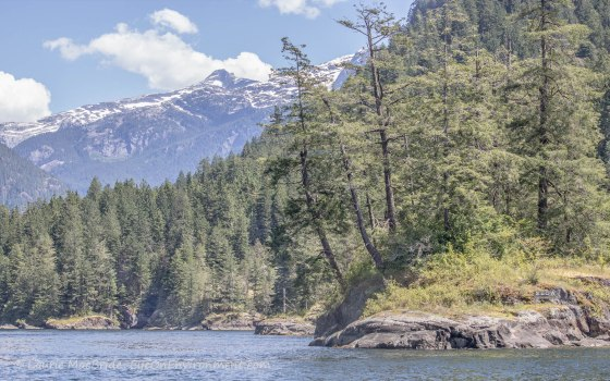 Approaching Malibu Rapids with mountains in distance